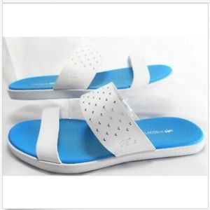 LACOSTE Leather Slide On White Beach Sandals